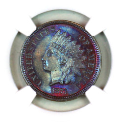 1873 Ms64 Bn Ngc Indian Head Penny Premium Quality Monster Toning
