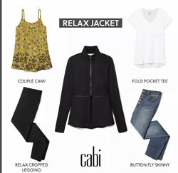 Cabi New Nwt Relax Jacket 5655 Black Ponte Knit Zip Off Bottom Was 144 Wow