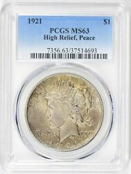 1921 1 Peace Dollar, Pcgs Ms 63, Toned, High Relief
