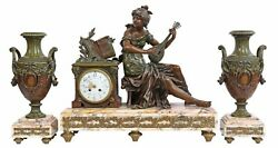 Gorgeous Antique Clock, Mantle And Garnitures French Figural, Patinated,1800's