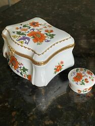Two Matching Limoges Floral And Gold Trim Hinged Trinket Box 6 Inch And 2 Inch