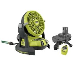 New Ryobi 18-volt One+ Hybrid Portable Bucket Top Misting Fan W/ Battery+charger