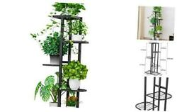 Flower Plant Stand Indoor 5 Tier Metal Plant Stand Flower Pots Stand Black