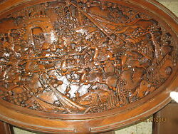 Table Hand Carved Wood Coffee Table And Personal Tables Japan 1940's