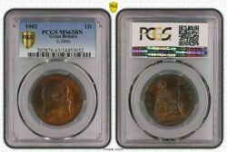 1902 Great Britain One 1 Penny Pcgs Ms63bn Only 4 Finer Worldwide