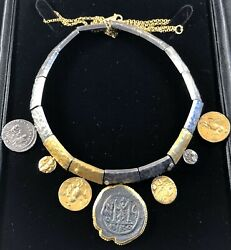 7 Ancient Coins Hammered Silver And Gold With Four Diamonds Necklace