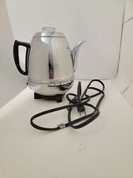 Vintage General Electric Percolator 33p30 Pot Belly Chrome Coffee Maker Ge Works