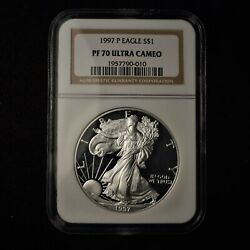 1997 1 American Silver Eagle Ngc Pf70 Ultra Cameo Us Coin