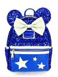 New Disney Minnie Mouse Sequined Loungefly Backpack Wishes Come True Blue