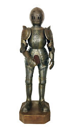 Antique Medieval Knight In Templar Armor On Wooden Stand Figurine Statue 18