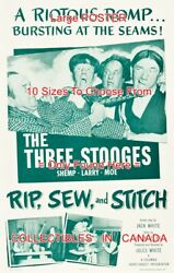 Rip Sew And Stich 1953 Three Stooges Tailors = Movie Poster 10 Sizes 17-4.5 Ft