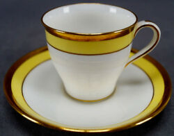 Pair Of Minton H1727 Yellow And Gold Demitasse Cups And Saucer Circa 1891 - 1902