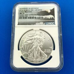 2016 W Burnished Silver Eagle Lettered Edge Early Release 30th Anniv Ngc Ms70