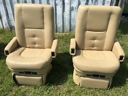 Flexsteel Power Rv Captainand039s Chairs Tan Motorhome Coach Seat Passenger 12v Elect