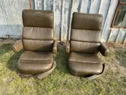 Flexsteel Rv Captainand039s Chairs Seats Brown Pair Coach Manual Used Motorhome