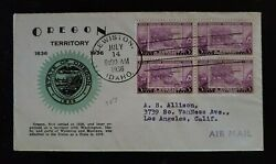 1936 Lewiston Id Los Angeles Oregon Territory Scott 783 First Day Airmail Cover