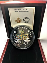 🇨🇦 2020 Maple Leaves Motion 50 5oz Pure Silver Proof Coin W/ Gold And Rhodium
