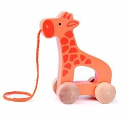 Giraffe Wooden Push And Pull Toddler Toy, 5.3l 2.4w 5.9h Inch Early