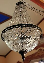 Vintage Cut Glass Crystal Chandelier With Leaded Cut Glass Bowl 23 X 14