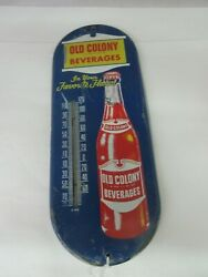 Vintage Advertsing Old Colony Soda Tin Thermometer A-643
