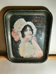 Antique Authentic 1914 Cocacola Betty Girl Square Serving Tray