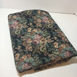 1.75 Yards Green Pink Blue Floral Tapestry Fabric 54quot; wide Cotton