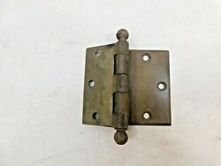 1890and039s Antique Door Hinges 4 Face Mount Ball Top Victorian Style Brass Ornate