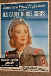 Enlist In A Proud Profession Join Us Cadet Nurse Corp - Vintage Ww2 Poster