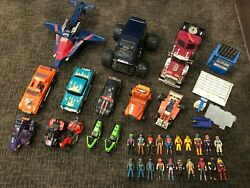 Kenner M.a.s.k. Vintage Toys Lot. 13 Vehicles And 20 Figures With Helmets