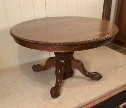 Antique Oak 50 Round Ball And Claw Foot Dining Table With 4 Original Leaves