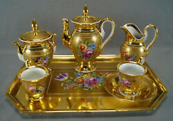 Dresden Hand Painted Floral And Heavy Gold Demitasse Set Pot Creamer Sugar And Cups