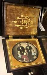 Beautiful Tinted 1/4 Daguerreotype Photo Of A Family / Group In Nice Union Case