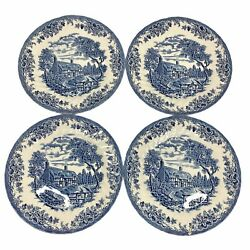 Churchill The Brook Blue China Dinner Plates Set Of Four 4 Made In England