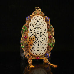 Antique Chinese 7thc Tang Pure Solid Gold And Silver Inlaid Hetian Jade Pendants