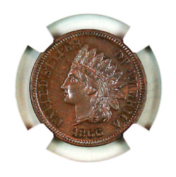 1866 Pf64 Bn Ngc Indian Head Penny Premium Quality Proof Example