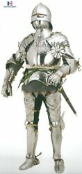 Medieval Gothic German Suit Of Armor With Free Chain Mail Halloween Costume Suit