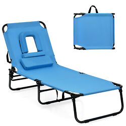 Goplus Folding Chaise Lounge Chair Bed Adjustable Patio Beach Camping Recliner