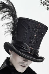Gothic Men Vintage Steampunk Cosplay Punk Party Caps Feather Decoration Top Hat