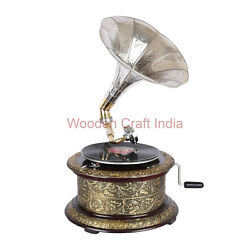 78 Rpm Vintage Hmv Wind Up Record Player Replica Gramophone Working Phonograph