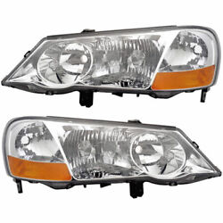 Pair New Left Right Headlight Assembly For Acura Tl 2002 2003