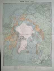 1896 Large Victorian Map North Polar Chart Explorers And Dates Etc
