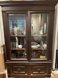 Antique Mahogany Wood Glass Front Dining Room China Cabinet. Breakfront. Hutch.