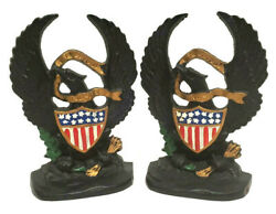 Vtg Hubley Antique Book Ends Cast Iron Old Abe American Eagle W/ 13 Star Shield