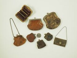 Antique Victorian Coin Purse Collection Of 8 Leather Exquisite /c