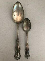2 Pcs. Wm. Rogers And Sons Arbutus Pattern Serving Spooon And Tea Spoon