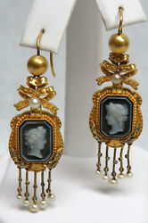 Fabulous Pair Antique 14k Gold And Natural Pearls Chandelier Stone Cameo Earrings