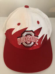 Ohio State University Logo 7 Shark Tooth Hat White And Red Adjustable