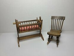Vintage Handmade Wooden Swinging Baby Doll Crib W Stand And Wooden Rocking Chair