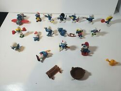 Vintage Lot Of 17 Smurfs Schleich Peyo Pvc Figures 1970s And 1980s