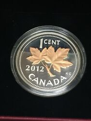 2012 Farewell To The Penny 1/2 Ounce Fine Silver Coin .9999 Gold Plated Maple
